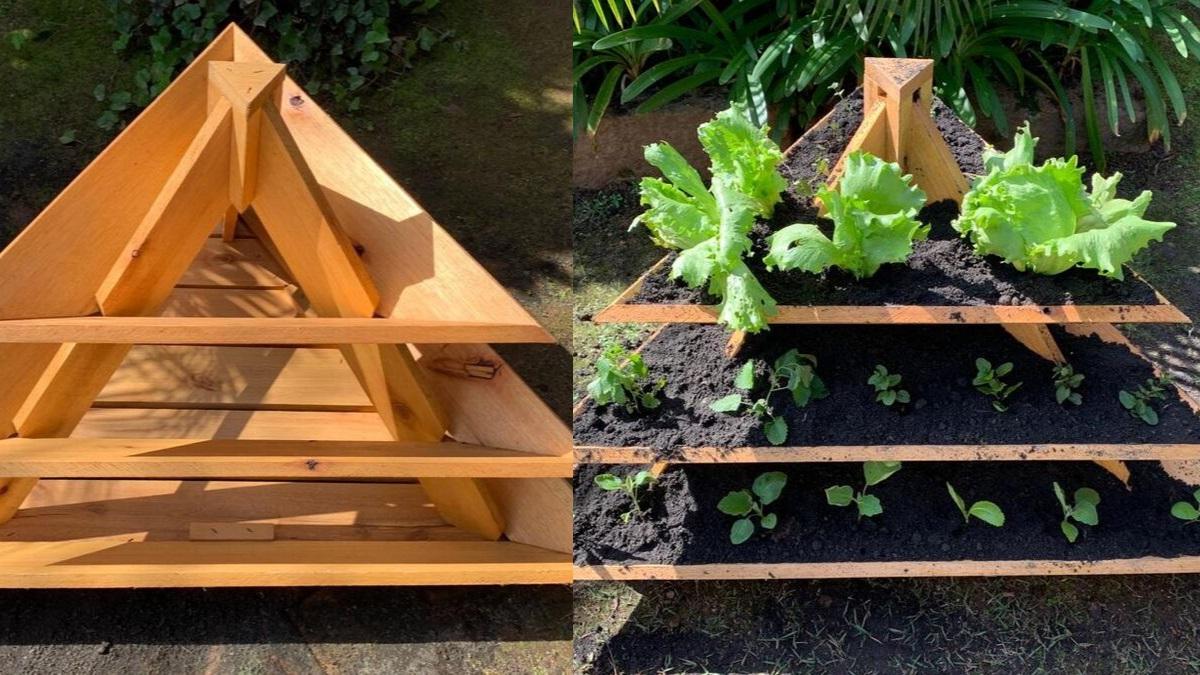 Mini  horta em forma de piramide do jardineiro Amador